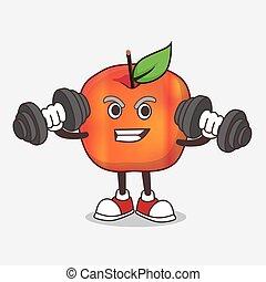 caricatura, condicão física, honeycrisp, personagem, mascote, maçã, barbells, tentando, exercício