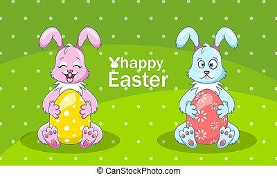 caricatura, conejos, pareja, con, huevos, para, pascua feliz
