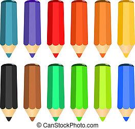 caricatura, conjunto, de, coloreado, madera, lápices