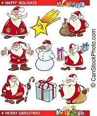 caricatura, conjunto, de, navidad, temas