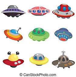 caricatura, conjunto, nave espacial, ovni, icono