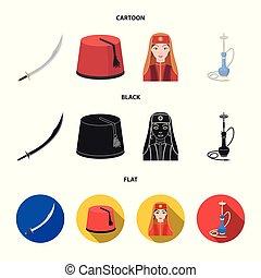 caricatura, conjunto, turco, fez, turco, símbolo, iconos,...