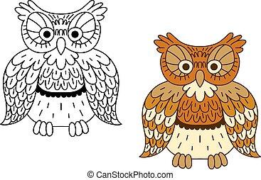 caricatura, contorno, marrón, búho, pájaro