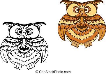 caricatura, contorno, y, marrón, búho, pájaro
