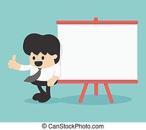 caricatura, contra, homem negócios, cima, polegar, billboard, inclinar-se, em branco