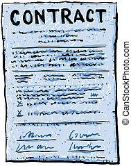caricatura, contrato