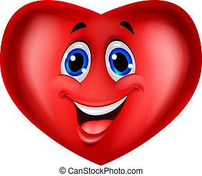 caricatura, coração vermelho