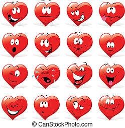 caricatura, corazones