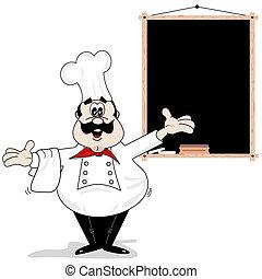 caricatura, cozinheiro, cozinheiro