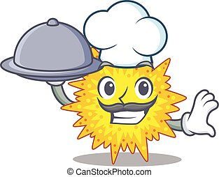caricatura, cozinheiro, personagem, mycoplasma, bandeja, alimento porção