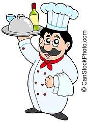 caricatura, cozinheiro, segurando, refeição, e, vinho