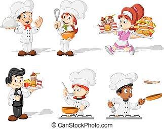caricatura, cozinheiros, cozinhar