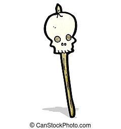 caricatura, cráneo, en, pincho