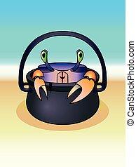 caricatura, crab., ocean., cauldron, carangueijo, seashore., personagem, engraçado