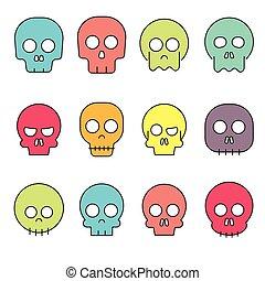 caricatura, cranio, vetorial, ícone, jogo