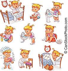 caricatura, criança, rotina diária, atividades, jogo
