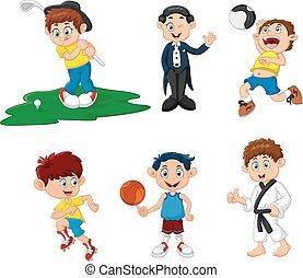 caricatura, crianças, desporto, muitos