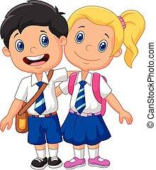 caricatura, crianças escola