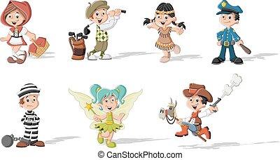 caricatura, crianças, grupo