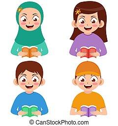 caricatura, crianças, leitura, vetorial, livro, ilustração, vário, gêneros
