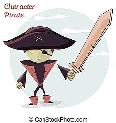 caricatura, crianças, personagem, pirate., vetorial, ilustração, isolado, branco, experiência.