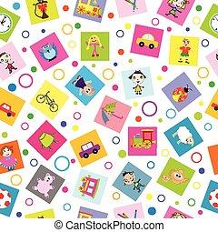 caricatura, crianças, seamless, fundo, brinquedos