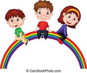caricatura, crianças, sentando, ligado, arco íris