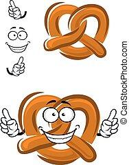 caricatura, crispy, feliz, pretzel, bavarian