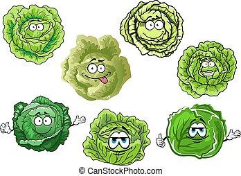 caricatura, crujiente, col verde, vegetales