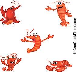 caricatura, crustáceo, colección, conjunto