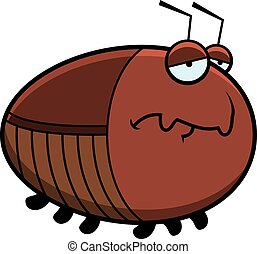 caricatura, cucaracha, triste