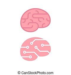 caricatura, cuerpo humano, silueta, con, cerebro, y, corazón
