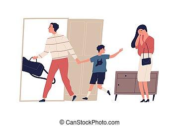 caricatura, custodia, madre, esposa, plano, white., padre, aislado, marido, ilustración, llanto, problemas, relationship., niño, arriba., familia , divorcio, escena, dispute., son., vector, salida, interrupción