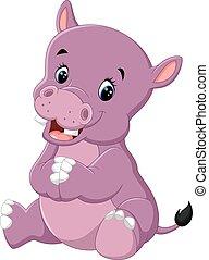 caricatura, cute, bebê, hipopótamo