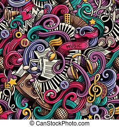 caricatura, cute, doodles, mão, desenhado, música, seamless,...