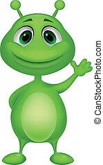 caricatura, cute, estrangeiro, verde