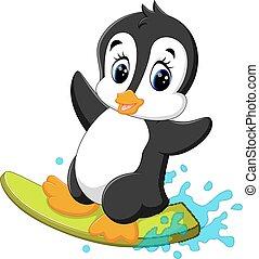 caricatura, cute, pingüim, surfando