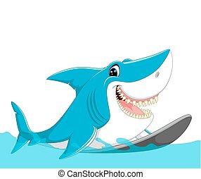 caricatura, cute, tubarão, surfando