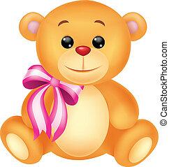 caricatura, cute, urso, sentando