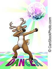 caricatura, dabbing, baile, reno, disco, navidad