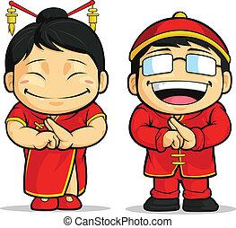 caricatura, de, chino, niño, y, niña