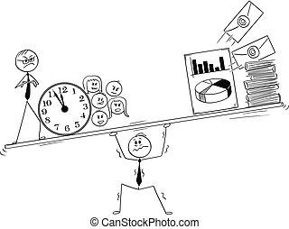 caricatura, de, enfatizado, y, hombre de negocios hecho trabajar demasiado, bajo presión