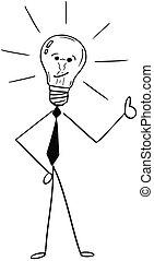 caricatura, de, homem negócio, bulbo leve, mostrando, polegares cima