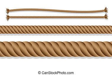 caricatura, de, trançado, corda