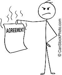 caricatura, de, zangado, homem, ou, homem negócios, segurando, injusto, ou, unethical, acordo