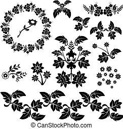 caricatura, decorativo, projeto floral, elementos