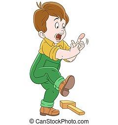 caricatura, dedo, niño, golpear