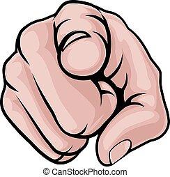 caricatura, dedo que señala, mano