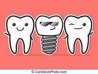 caricatura, dental, teeth., implante