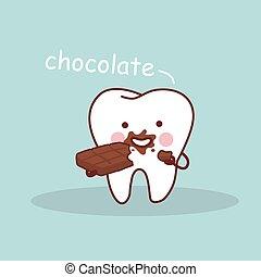 caricatura, dente, com, chocolate
